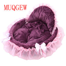 pet dog bed mat for small large medium dogs Princess Bows Lace love Heart Elegant Lovely Sofas winter Warm Soft Cotton Cushion(China)