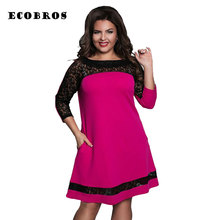Buy ECOBROS Big size 6XL 2017 New Fat MM Woman Lace dress Loose solid patchwork knee dresses plus size women clothing 6xl dress for $17.99 in AliExpress store