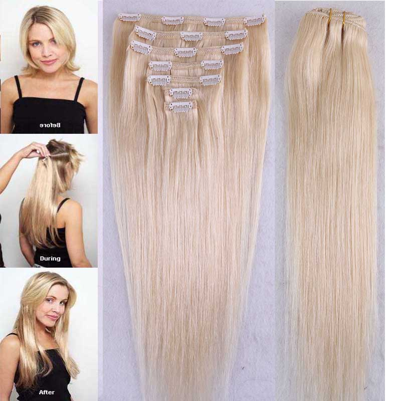 7 Pcs/Lot Blonde 613# Remy Clip In Human Hair Extensions Straight Hair Weave 100G And 120G Bundle No Tangle No Shed Free ship<br><br>Aliexpress