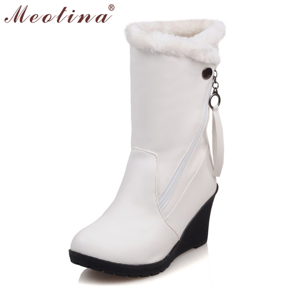 Meotina Winter Women Boots Wedge Heels Mid Calf Boots Snow Boots Platform Shoes Ladies Footwear Red White Big Size 9 10 11 42 44<br><br>Aliexpress