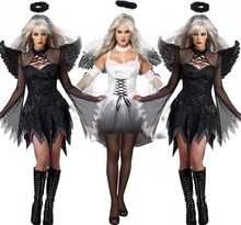 2017 New Fantasia Halloween Costumes For Women Fantasy Cosplay Party Fancy Dress Adult Fallen Angel Costume With Angel Wings(China)