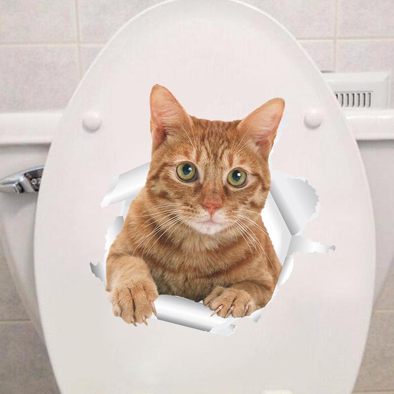 HTB1L7O7xrSYBuNjSspfq6AZCpXaV - Funny 3d Kitten Broken Hole Sticker For Toilet-Free Shipping