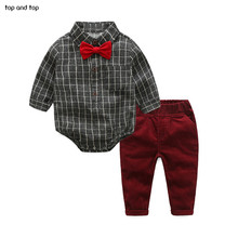 TOP and TOP Baby Boy Clothes Newborn Clothing Sets Broadcloth Cotton Gentleman Fashion Plaid Rompers + Jeans 2Pcs/set(China)