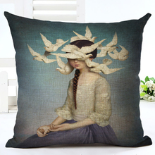 New Arrive Hot Selling Classical Bird Girl Printing Linen Cotton Cushion Cover Throw Pillow Sofa Pillow Cojines