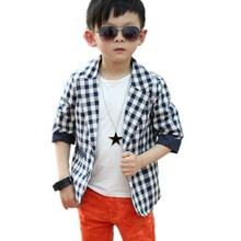 Comfortable Cool Baby Boys Cotton Suit Plaid Dots Print Blazer Kids Jacket Coat Casual Fall 2-7Y