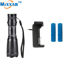 zk14 e17 CREE XM-L T6 4000LM  high power led torch lantern zoomable led flashlight + 2*18650 5000mAh Battery + Charger