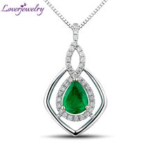Solid 14K Two Tone Gold Natural Gorgeous Emerald Pendant,Diamond Wedding Jewelry Pear 6x8mm Good Quality Gem WP039(China)