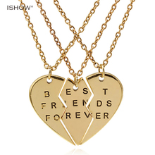 Buy New collier necklace heart pendant pieces broken three best friend forever necklace women necklace jewelry collares mujer for $2.96 in AliExpress store
