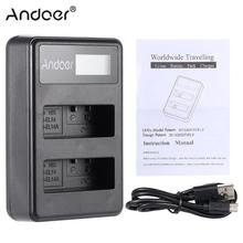 Andoer EN-EL14 EN-EL14A Rechargeable Li-ion Battery Charger Pack LED Display 2-Slot USB Cable Kit for Nikon D3100 D3200 D3300