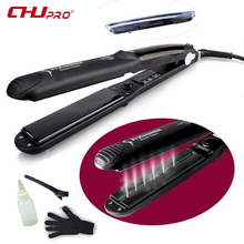 CHJ Steam Function Flat Iron Tourmaline Ceramic Vapor Professional Hair Straightener with Argan Oil Infusion Straightening Irons(China)