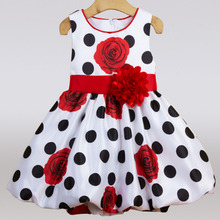 2017 Baby Girls Summer Dress Black Dot Red Bow Flower Infant for Birthday Party Sleeveless Princess Vestido Infantil 0-2 Year