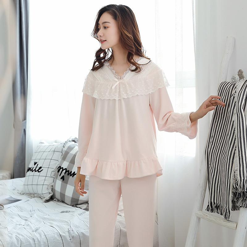 Autumn and Winter New Flannel Nightwear Suit Lace Lace Princess Palace Long Sleeved Lush Pajamas Womens Pyjamas Home Clothes