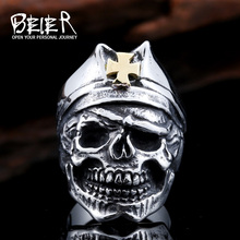 Beier new store 316L Stainless Steel men ring Red Army cross hat skull ring fashion jewelry LLBR8-423R