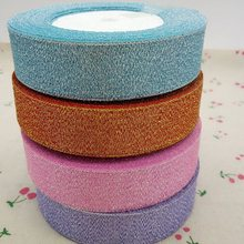 HL 4 rolls 25mm width glitter ribbon gift packing belt wedding party Christmas embellishment ribbon sewing accessories A166(China)