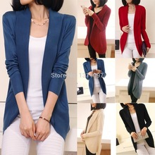Women Casual Knitted Sweater Long Sleeve Cardigan Coat Jacket Outwear Tops Suit(China)