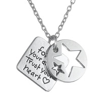 "Hand Stamped Positive Inspirational Quote ""Follow Your Dreams Trust Your Heart"" Stars In Round & Square Pendant Charm Necklace(China)"