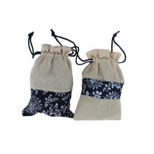 2pcs/lot 14x9.5cm Chinese style Blue Cotton Linen Drawstring Sack Bag Jewelry Wedding Party Candy Gift Tea storage Bag GYH