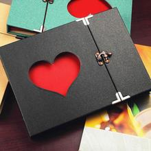 10 Inch DIY handmade Hollow Love Album 30 black sheets 3 rings photo album baby growing family record Lock albums Children Gift