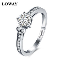 LOWAY Cute Lady Vacation CZ White Gold Color 0.8 Carat Round Simulated  Wedding Ring for Women GirlfriendJZ5925