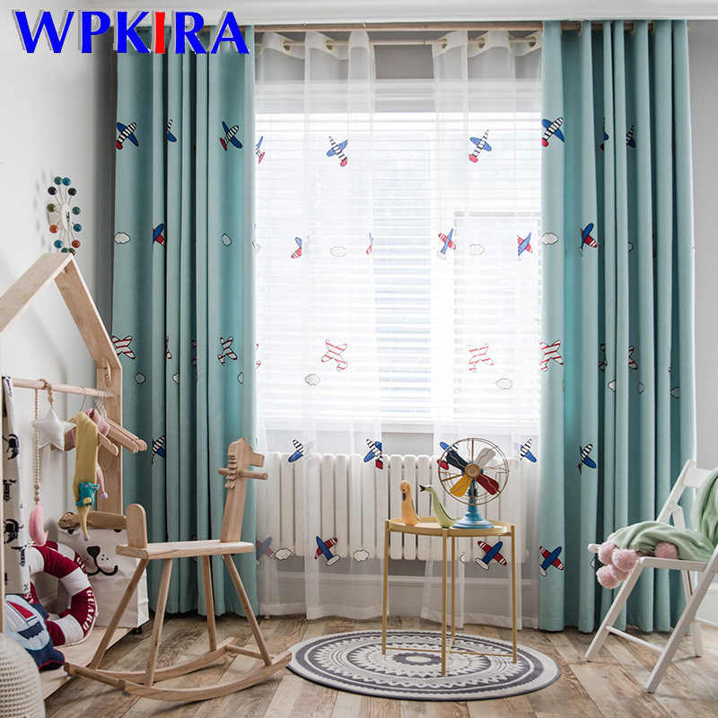Cartoon Airplane Embroidered Blue Blackout Curtain For Kids Children Bedroom Living Room Luxury White Tulle Window Drapes M102D3