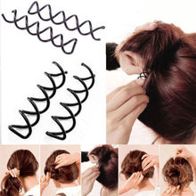 5pcs High Quality Women Girls Hair Clip Twist Barrette Spiral Spin Screw Pin Metal Black Hair Styling Tools(China)