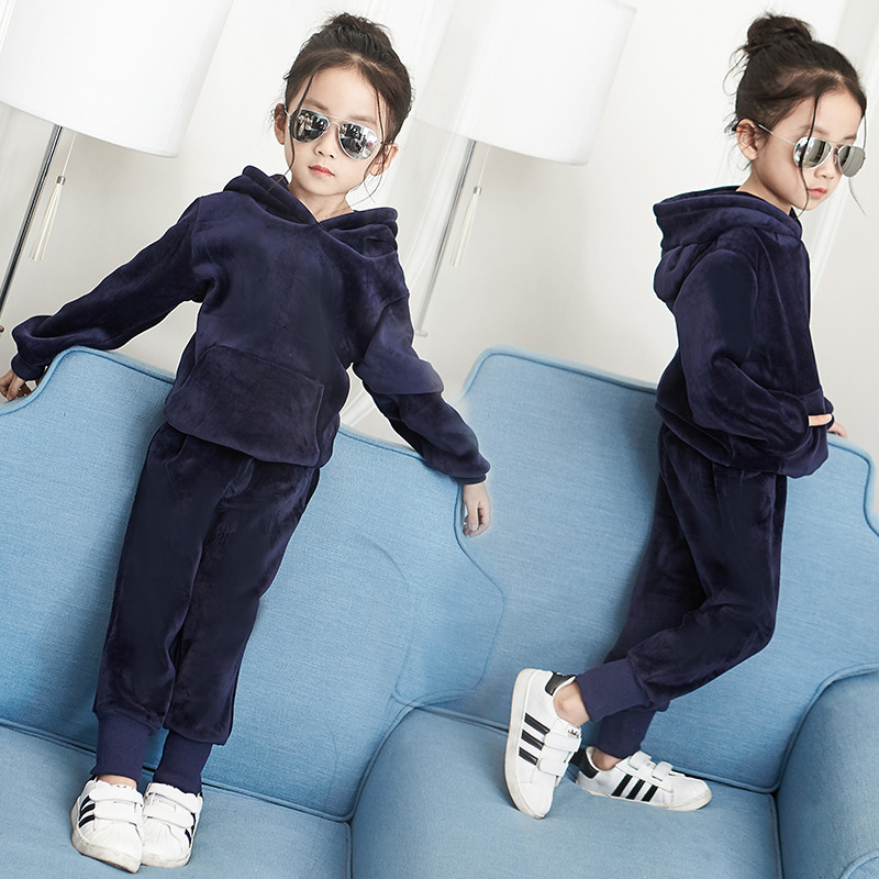 Childrens Autumn Winter warm thicken Velvet sets girls cute soft full-sleeve hoodies+full-length pants kids clothing 3-10 years<br>