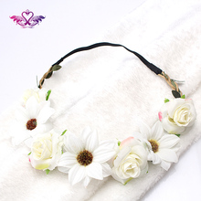M MISM 8 Color Flower Wreath Chic Wedding Floral Girls scrunchy Headband Hairband Tiara Garland Headdress Women Hair Accessories