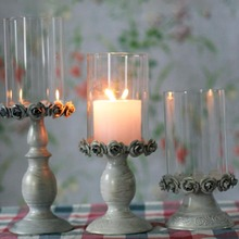 Romantic Candle Holders Rose Glass Candlestick Candelabra Tea Candle Stand Wedding Home Decoration Porta Velas Candelabros