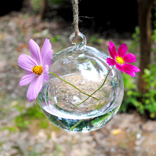 O.RoseLif Hanging Vase Hydroponic Container Wedding Decor  Clear Glass Round with 2 Holes Flower Plant Stand