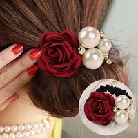Fashion Women's Hair Ties with Faux Pearls Satin Ribbon Scrunchie Rose Flower Headband Ponytail Holder HairBand Wholesale