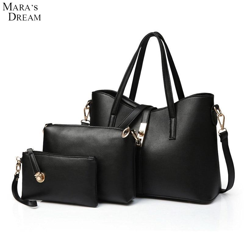 Maras Dream Bags Handbags Women Famous Brands PU Leather Zipper Solid Color Fashion Women Handbag+Messenger Bag+Purse 3 Sets<br>