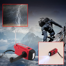 3 in 1 emergency charger hand crank generator with radio Wind up/Solar/Dynamo Powered FM/AM Radio,Phones Chargers LED Flashlight(China)