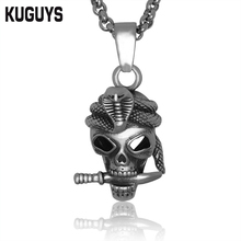 KUGUYS 316L Stainless Steel Jewelry Super Cobra Skull Pendant Necklace Silver Colors Link Chain Rock Punk HipHop Biker Pendants