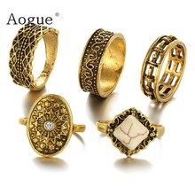 5 pieces Punk Retro Bohemian Gold color rings set turquoise opal stone carved personality joint ring wholesale(China)