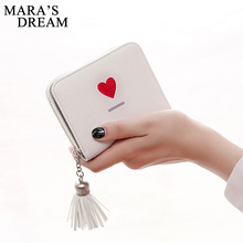 Mara's Dream 2017 Printing Heart Letter Tassel Women Wallet Small Zipper & Hasp Women Purse Designed Lady Wallet Coin Purse