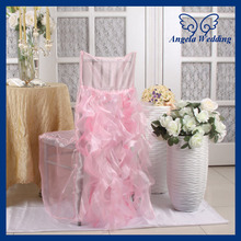 CH005B wholesale fancy wedding ruffled curly willow light pink and hot pink chair cover