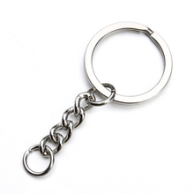 5pcs/lot Stainless Steel Key Chain Key Ring Silver Tone Key Rings With Open LInk Chain 28mm Diameter Diy Jewelry Findings F2256(China)