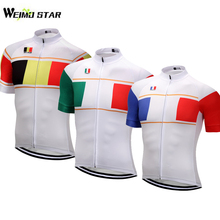 Weimostar Men's Belgium France Italy Cycling Jersey Summer Ropa Ciclismo MTB Bicycle Biking Shirt Riding Short Sleeve Maillot
