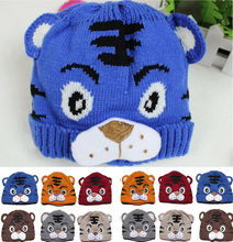 Crochet Knitting Tiger Cap 2016 Spring Autumn Children Knitted Hat Baby Warm Caps Fashion Kids Beanies skull Girl Boy Caps
