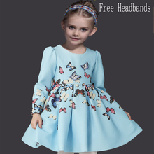 Christmas Dress Fashion Princess Dress with Butterfly Winter Long Sleeve Kids Dresses for Girls European Style Children Dress