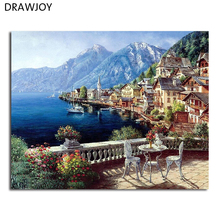 DRAWJOY Seascape Framed DIY Painting By Numbers Home Decor For Living Room DIY Digital Canvas Oil Painting GX4790 40*50cm(China)