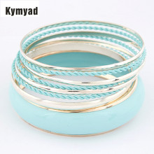 Kymyad Bangle Sets For Women Enamel Bangles sets Charm Multilayer Bracelets Bangles Fashion Cute Bracelet New pulseras(China)