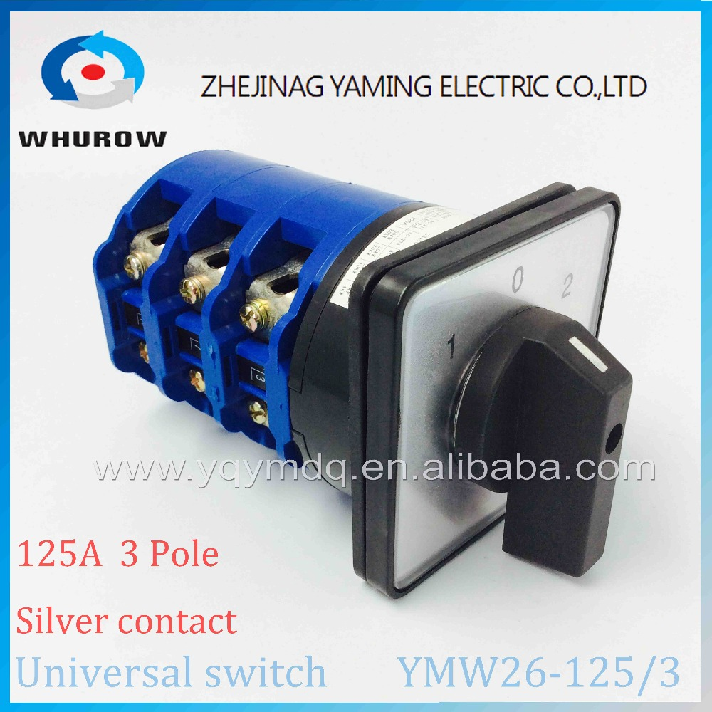 YMW26-125/3 Universal Rotary switch 3 position knob 1-0-2 125A 60V-690V 3 phase High quality changeover cam motor switch<br>