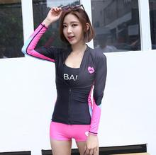 Women's  Anti UV Rash Guard With Long Sleeves Two Pieces(Top+Shorts) Black Pink Free Shipping