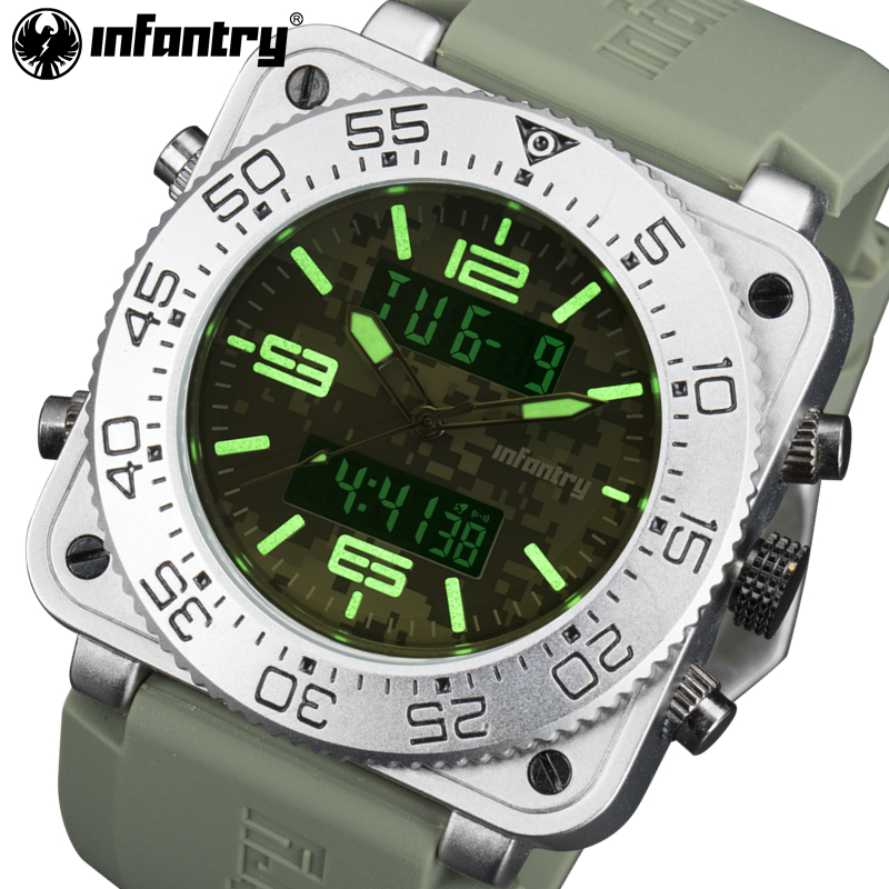 INFANTRY Brand Men Quartz Watches 30M Waterproof Military Dual Time Watches Mens Rubber Auto Date Luminous Wristwatches Relojes<br>
