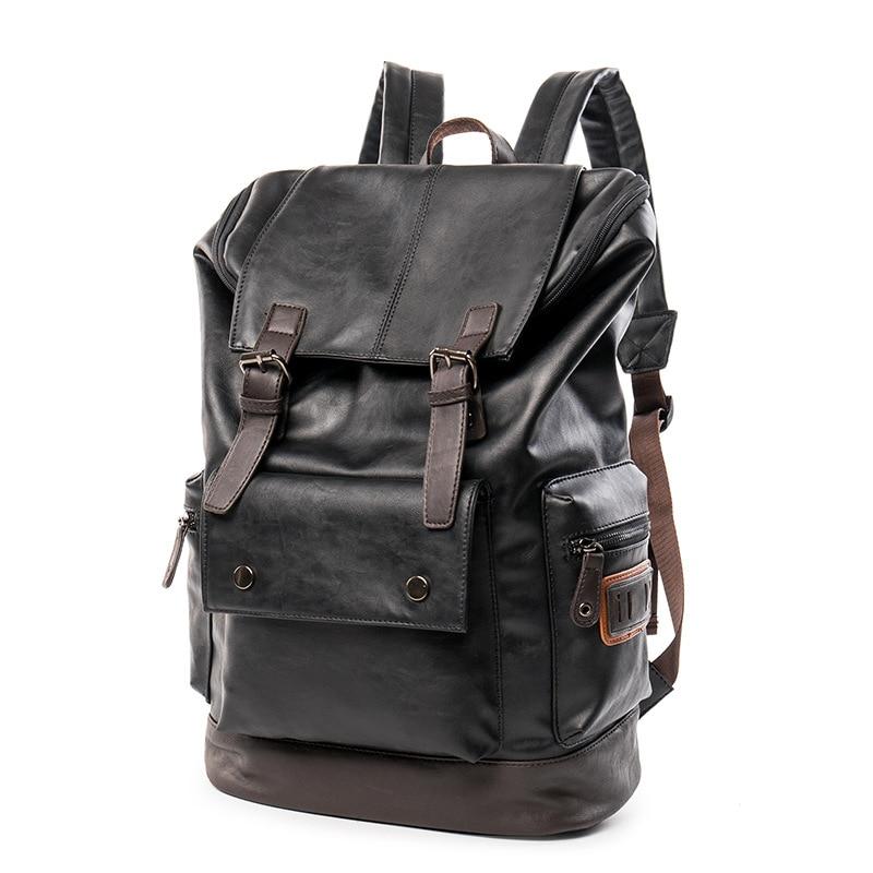 Cool Black Mens Leather Backpack Schoolbag Vintage Leather Backpack for men Large capacity Travel Laptop Backpack mochila<br>