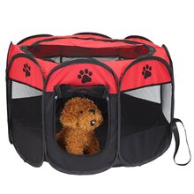 8 Panels Dog Cat Playpen Fence Tent Puppy Pet Crate Cage Portable House Kennel Carrier Foldable Hammock 91X91X58CM 2 Colors(China)