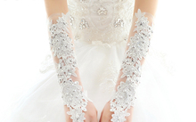 New sex white lace evening party pricecess lady bridesmaid long fingerless gloves mittens free shipping(China)