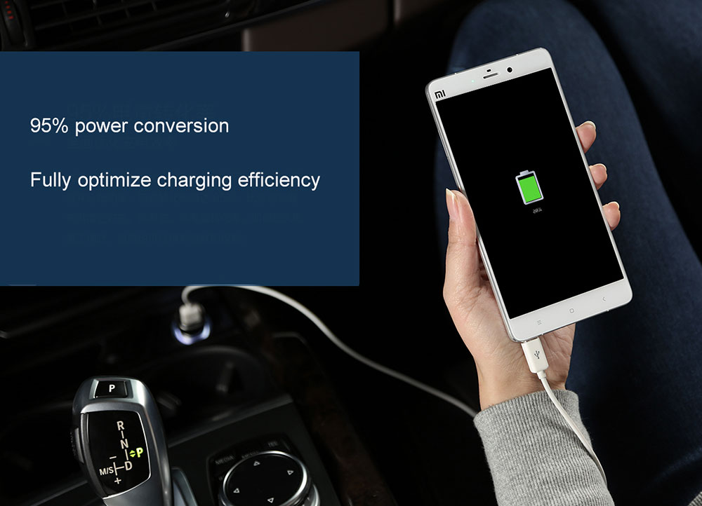 100% Original Xiaomi Mi Car Charger Dual USB Max 5V3.6A Metal Fast Charging Universal Car Charger Competiable with Most Phones Tablet PC (1)