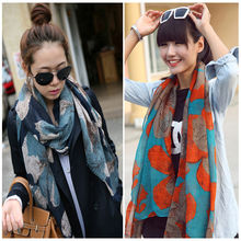 1PC 100*180cm New Fashion Lady Women big Flower Peddles Printed Winter Scarf Vintage Long Soft Cotton Voile Scarves Shawl Wrap